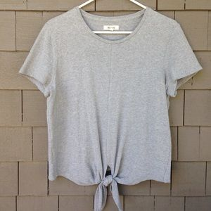 Madewell Textured Gray Tie-front top size Medium